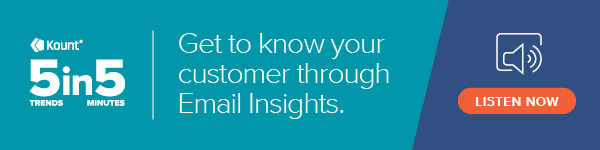 """The 5in 5 podcast logo with the text """"get to know your customer with Email Insights"""" and button to listen now."""