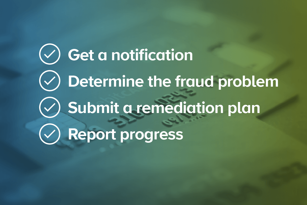 A picture of credit cards with a blue-green gradient overlay that has a text overlay checklist: get a notification, determine the fraud program, submit a remediation plan, report progress.