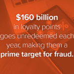 Image of a tablet with a digital loyalty card with a text overlay that says $160 billion in loyalty points goes unredeemed each year, making them a prime target for fraud.