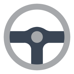 An illustration of a steering wheel.