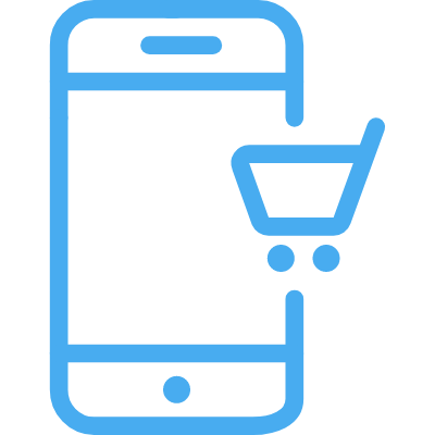 A line illustration of a mobile checkout