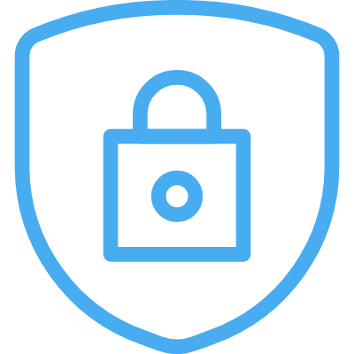 A line illustration of a lock on a security shield